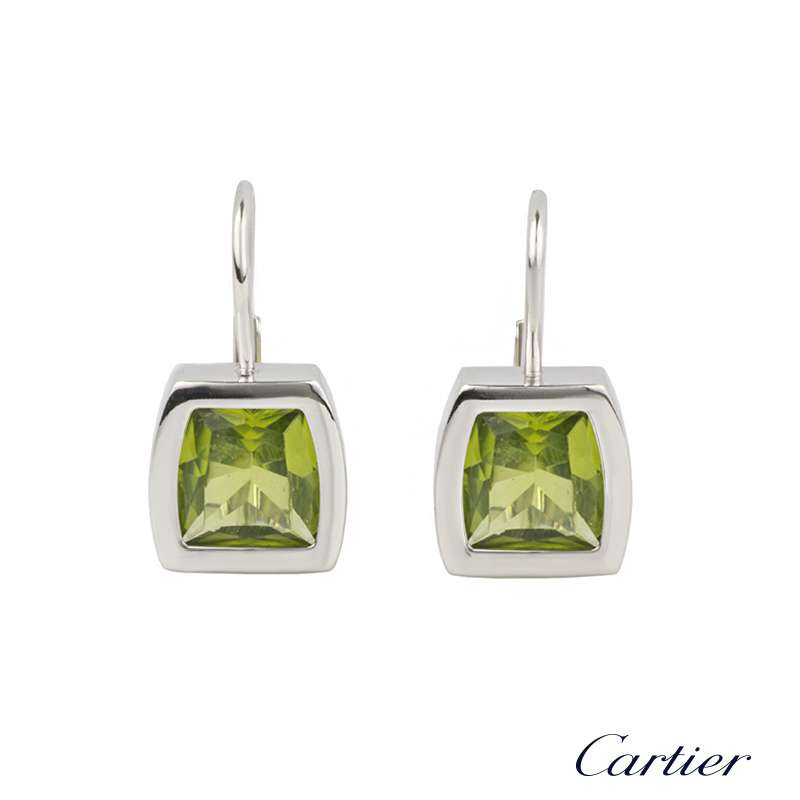 Cartier 18k White Gold Peridot La Dona Earrings